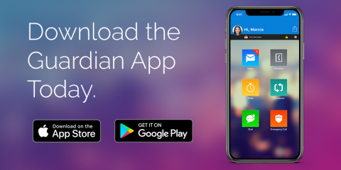 Download the Rave Guardian app today from the app store, or Google Play, with a photo of a cell phone.