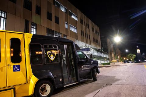 The NITE RIDE fleet parked outside the UI Department of Public Safety.