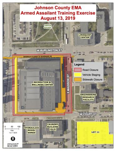 Street and sidewalk closure map for Johnson County Emergency Management Training Exercise